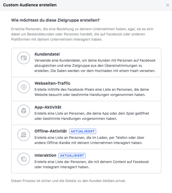 Verschiedene Custom Audiences bei Facebook Ads