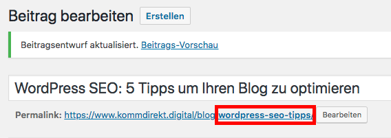 WordPress SEO URL des Beitrags