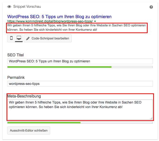 Meta Description im WordPress Plugin YOAST SEO