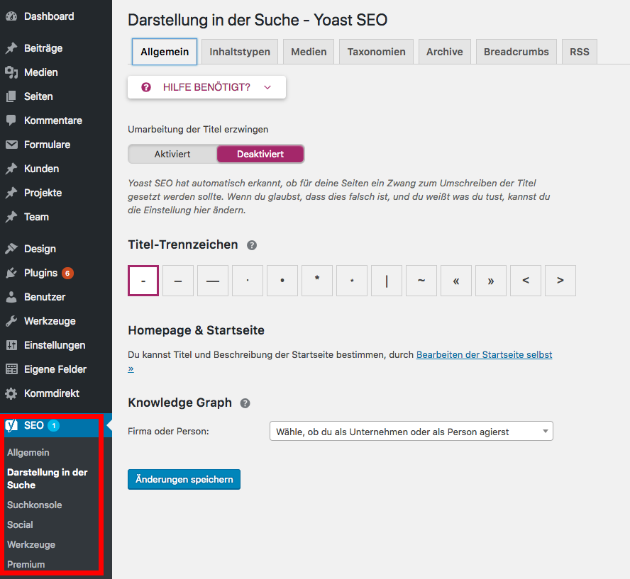 WordPress SEO Yoast Einstellungen